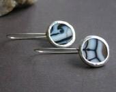 Sterling Silver Drop  Earrings | Black Banded Agate Earrings | Gemstone Drop Earrings | Black Agate Drops | Long Drop Earrings | Handmade
