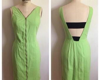 Vintage lime green denim zip up slim fit dress