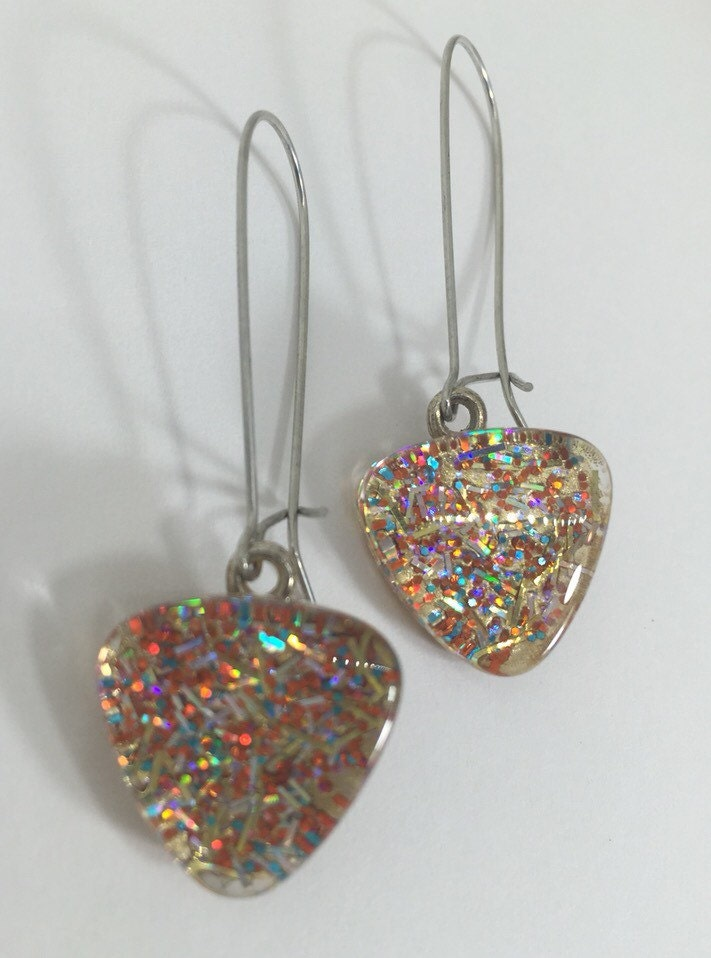 Gold Confetti Glitter Nail Polish Dangle Earrings, Statement