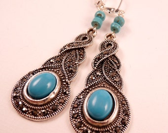 Turquoise Earrings Gemstone Earrings Turquoise Jewelry Beaded Jewelry Silver Jewelry Beaded Earrings Dangle Earrings Black Jewelry