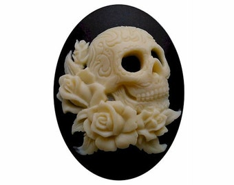 40x30 skull Zombie cameo Lolita rose Cameo Day of the Dead jewelry sci fi skeleton gothic wedding gypsy halloween supply rockabilly 1pc 819x