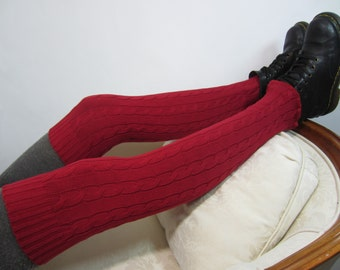Thick Over the Knee Cable Knit Socks Red Thigh High Leg Warmers A1362