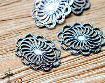 Antiqued Silver  plated RAW brass Filigree  Jewelry Connectors Setting Cab Base Connector Finding  (FILIG-AS-5)