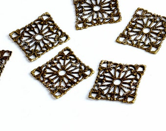 Antique Bronze plated brass Filigree  Jewelry Stampings ConnectorsSetting Cab Base Connector Finding  (FILIG-B-6)