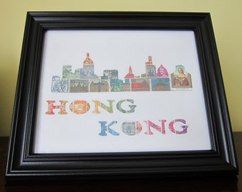 Postage Stamp Art - Hong Kong - Used Postage Stamps - Framed Postage Stamp Art - Wall Art - China, Asia, Asian Art
