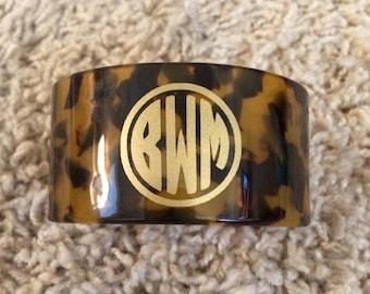 Monogram personalized tortoise cuff bracelet
