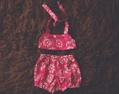 Cake Smash Outfit One Year Old Girl Bikini Cake Smash Set Dark Pink Batik Flowers