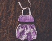 Cake Smash Outfit One Year Old Girl Bikini Cake Smash Set Purple Flower Ombre Polkadots
