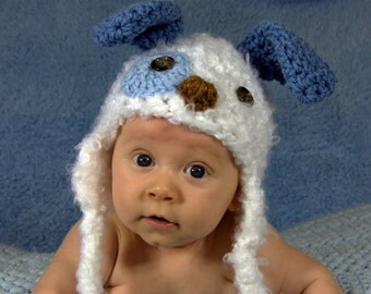 Baby Hat - Baby Puppy Hat - Baby Boy Puppy Dog Hat - Blue and White Fuzzy Puppy Hat - Spotted Puppy Cute and Soft Earflap - by JoJosBootique