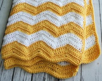 Yellow and White Chevron Baby Blanket, Chevron Baby Blanket, Crochet Chevron Striped Blanket, Zig Zag Baby Blanket - by JoJo's Bootique