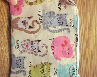 Quilted Cats Coin Purse, zippered