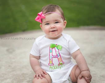 Baby Girl Personalized First Letter Bodysuit