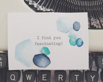 I find you fascinating! Unique, one of a kind typewriter watercolor mixed media art by dabblelicious
