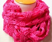 Hot Pink Knit Scarf, Luxury Cotton Scarf, All Season Accessories