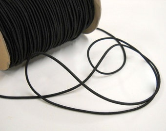 Black Elastic Cord, Narrow Black Elastic Cording, 5 yards Black Elastic, Sewing Notions, Craft Supplies, DIY Supplies, elas016/5