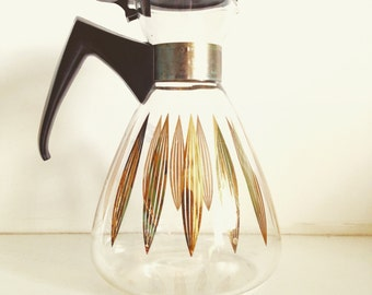 Vintage Coffee Pot, Atomic Kitchen, Gold, Black, Mid century