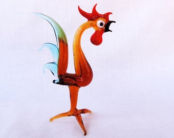 Rooster Figurine Hand Blown Glass Vintage Italian Glass Free Shipping Made in Italy 1950's Collectible Handmade