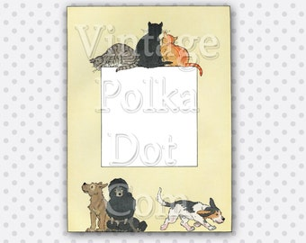 Clip Art Frame Digital Cat and Dog or Border from the 1920's  Printable Digital Collage Sheet Scrapbooking Clipart