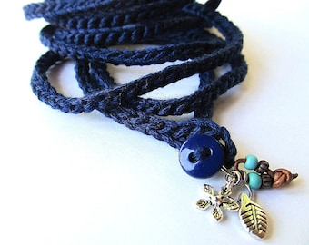 Crochet wrap charm bracelet or necklace in navy, bohemian jewelry, crochet jewelry, cuff bracelet, spring fashion, charm bracelet