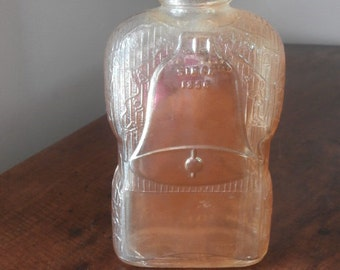 Golden Wedding Marigold Carnival Glass Whiskey Bottle