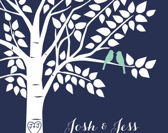 Tree Guest Book, Wedding Guestbook Tree, Mint Wedding, Navy Wedding, Alternative Guest Book, Mint Wedding Decor - 16x20 Guestbook Sign