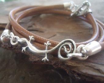 GECKO & reptile look BRACELET - wrap bracelet  in brown (764)