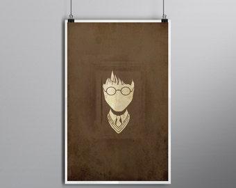 I'm Not a Wizard // The Philosopherand#039;s/Sorcererand#039;s Stone Alternate Movie Poster // Glasses, Lightning Scar, and Uniform Tex