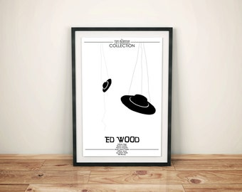 Paper Plates on String // Ed Wood Alternate Movie Poster // Flying Saucer and String Black and White Print