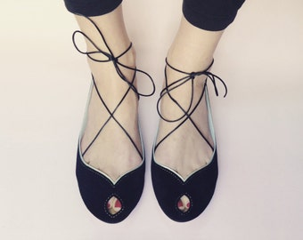 Ballet Flats Shoes Peep Toe in Black Leather Mary Jane Open Toe Handmade Ballerinas