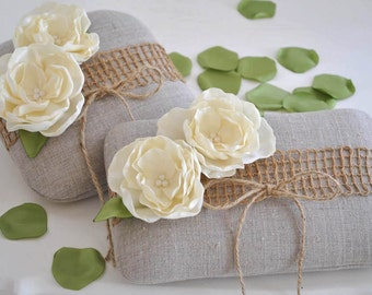Adorable LINEN Ring Bearer Pillow. You Choose the Color for The flower