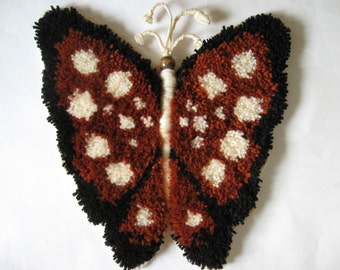 70s latch hook rug mod vintage brown spotted butterfly wire antennae wood bead head wall hanging