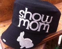 Stock Show Mom, Fair Project Livestock Market Show Mom Womens Baseball Cap Trucker Cadet Cap, Animal Steer Rabbit Pig Goat Lamb