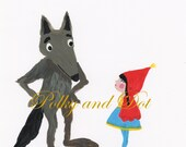 Big Bad Wolf and little Red with an attitude painting digital download