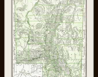 Antique Utah Us Map Digital Download For Papercrafts Transfers Pillows Sbooks