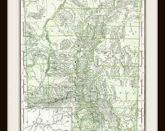 Antique UTAH US Map Digital Download - for Papercrafts, Transfers, Pillows, Scrapbooks, and more.