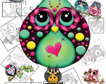 Adult Coloring Book Download - Owl Coloring Book - Coloring Book Download - Digital Coloring Book - Owl Coloring - Kids Coloring