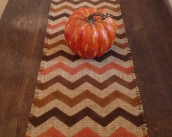 Rustic Autumn Burlap Chevron Table Runner Thanksgiving 12 14 By 120, 132 Or  144