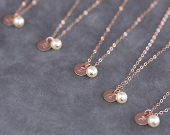 Dainty Initial Necklace, Rose Gold Bridal Party Gift, Pearl and Rose Gold Necklace Set of 8, Handstamped Initial Jewelry