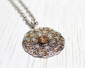 """Large Filigree Pendant Necklace with Champagne Color Swarovski Crystals 18"""""""