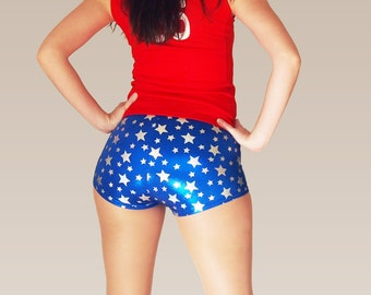 Shiny Blue Star Print Roller Derby Shorts - Pre-Order