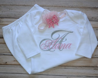 Initial and Name Baby Gown, Embroidered, Babyshower