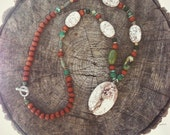 White magnesite and wood statement necklace