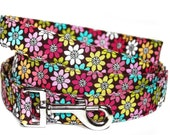 Dog Leash / Daisy Flower Dog Leash / Flower Dog Leash / Floral Dog Leash / Girl Dog Leash / Colorful Dog Leash / Pink Brown Dog Leash