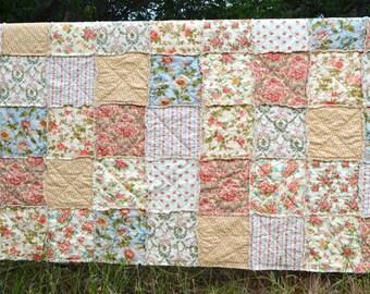 Queen Size Rag Quilt and Pillow Shams, coral, peach, blue, Along The Garden Path