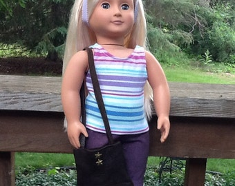 Purple Capri Pants, Striped Shirt and Purse for 18 inch doll like American Girl, girls gift, girl toy, doll tank top