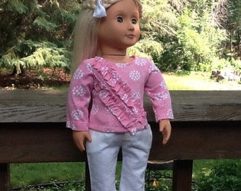 18 Inch Doll Clothes Pink and White Pants and Shirt Outfit