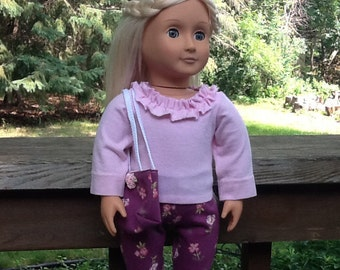 18 Inch Doll Clothes Pink and Purple Pants and Shirt Outfit