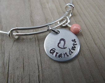 "Grandma Bracelet- Gift for Grandma- Hand-Stamped Bracelet- ""Grandma"", stamped heart, and an accent bead of choice"