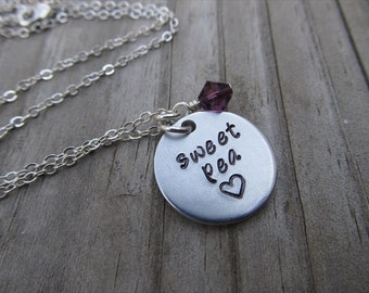 """Sweet Pea Necklace- Hand-Stamped """"sweet pea"""" with a stamped heart and an accent bead in your choice of colors- Hand-Stamped Jewelry"""
