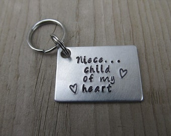 """Niece Keychain, Gift for Niece """"Niece- child of my heart"""" with stamped hearts- Hand-Stamped Keychain"""